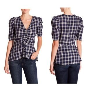 Walter Baker Alba Navy & Silver Plaid Top